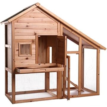 dibea RH10012, Kleintierstall Holz (140 x 64 x 119 cm), geräumiger 2-Etagen Käfig mit herausziehbarer Schublade, 2 Türen, für Kaninchen Hamster Hasen Meerschweinchen - 2