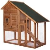 dibea RH10012, Kleintierstall Holz (140 x 64 x 119 cm), geräumiger 2-Etagen Käfig mit herausziehbarer Schublade, 2 Türen, für Kaninchen Hamster Hasen Meerschweinchen - 1