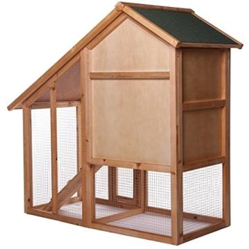 dibea RH10012, Kleintierstall Holz (140 x 64 x 119 cm), geräumiger 2-Etagen Käfig mit herausziehbarer Schublade, 2 Türen, für Kaninchen Hamster Hasen Meerschweinchen - 3