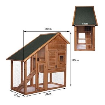 dibea RH10012, Kleintierstall Holz (140 x 64 x 119 cm), geräumiger 2-Etagen Käfig mit herausziehbarer Schublade, 2 Türen, für Kaninchen Hamster Hasen Meerschweinchen - 6