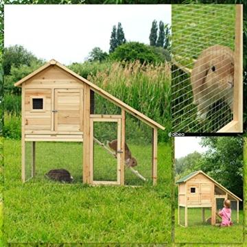 dibea RH10012, Kleintierstall Holz (140 x 64 x 119 cm), geräumiger 2-Etagen Käfig mit herausziehbarer Schublade, 2 Türen, für Kaninchen Hamster Hasen Meerschweinchen - 7