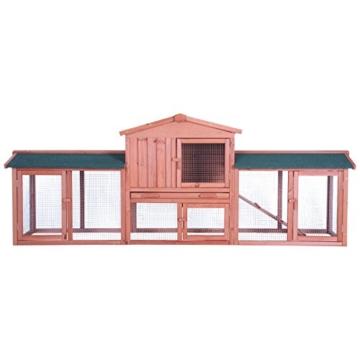 dibea RH10241, XXXL Kaninchenstall 223 x 52 x 85 cm (B x T x H, braun), Premium Kleintierstall für Hasen, Meerschweinchen oder Zwergkaninchen, wetterfestes Dach - 2