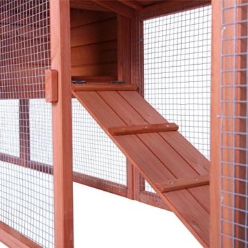 dibea RH10241, XXXL Kaninchenstall 223 x 52 x 85 cm (B x T x H, braun), Premium Kleintierstall für Hasen, Meerschweinchen oder Zwergkaninchen, wetterfestes Dach - 4