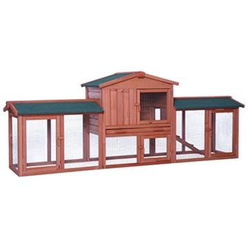 dibea RH10241, XXXL Kaninchenstall 223 x 52 x 85 cm (B x T x H, braun), Premium Kleintierstall für Hasen, Meerschweinchen oder Zwergkaninchen, wetterfestes Dach - 1