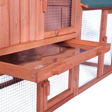 dibea RH10241, XXXL Kaninchenstall 223 x 52 x 85 cm (B x T x H, braun), Premium Kleintierstall für Hasen, Meerschweinchen oder Zwergkaninchen, wetterfestes Dach - 5