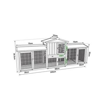 dibea RH10241, XXXL Kaninchenstall 223 x 52 x 85 cm (B x T x H, braun), Premium Kleintierstall für Hasen, Meerschweinchen oder Zwergkaninchen, wetterfestes Dach - 7