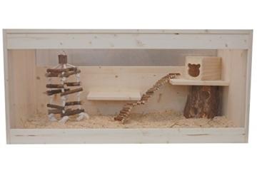 Happy-Nager Hamsterkäfig, Mäusekäfig, Rattenkäfig, Nagerkäfig aus Natur Holz 100 x 51 x 50 - 1