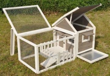 nanook Stall Felix für Zwergkaninchen Hamster Meerschweinchen mit Auslauf und Terrasse -143 x 74 x 82 cm - 3