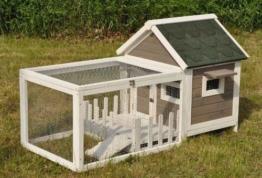 nanook Stall Felix für Zwergkaninchen Hamster Meerschweinchen mit Auslauf und Terrasse -143 x 74 x 82 cm - 1