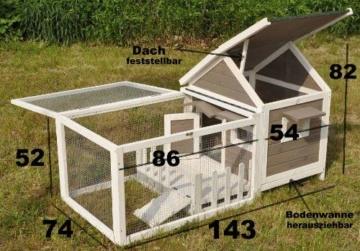 nanook Stall Felix für Zwergkaninchen Hamster Meerschweinchen mit Auslauf und Terrasse -143 x 74 x 82 cm - 7