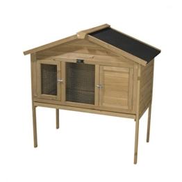 Timbo Kaninchenstall KRISTIN aus massivem Tannenholz, 100x55x114 cm, wetterfester Hasenstall für Sommer & Winter, geeignet für Außenbereiche Kaninchenstall & Kleintierstall - 1