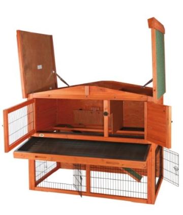 Trixie 62321 Natura Kaninchenstall mit Freigehege 123 × 96 × 76 cm, braun - 3