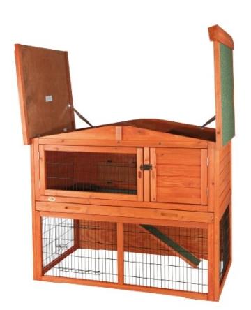Trixie 62321 Natura Kaninchenstall mit Freigehege 123 × 96 × 76 cm, braun - 6