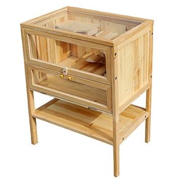 Wiltec Hamsterkäfig Kleintierkäfig Mäusekäfig Nagerstall Rattenkäfig Hamster Holz Stall - 2