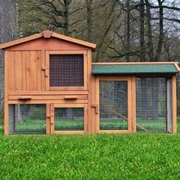 """ZooPrimus Kleintier-Stall Nr 01 Kaninchen-Käfig """"HASENVILLA"""" Meerschweinchen-Haus für Außenbereich (Breite 145cm, Tiefe 53cm, Höhe 86cm, geeignet für Kleintiere: Hasen, Kaninchen, Meerschweinchen usw.) - 1"""